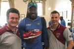 Greg & Darren with West Indies' Chris Gayle holding his Custom Cricket Shoes