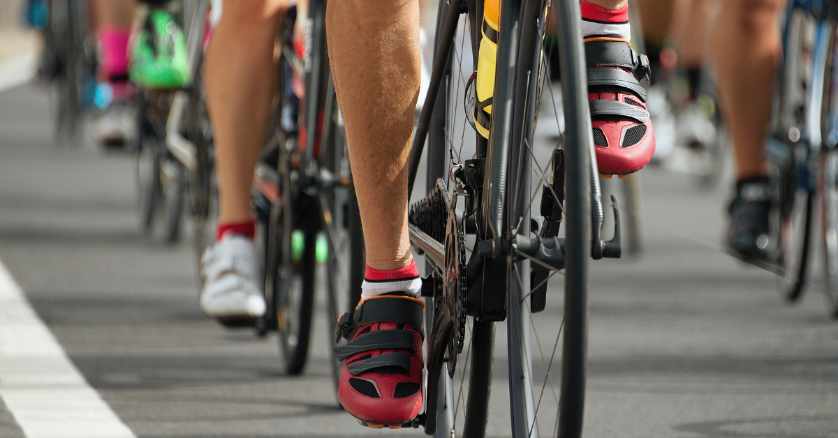 group of cyclists feet
