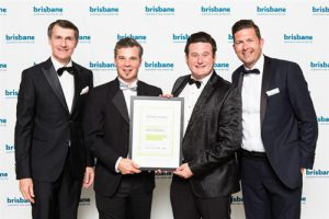 Lord Mayor Graham Quirk with Greg Dower and Darren Stewart of my FootDr podiatry centres