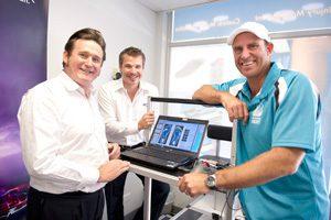 Matthew Hayden at my FootDr podiatry centres with Greg Dower and Darren Stewart