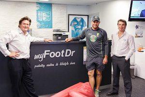 Ryan Harris with Greg Dower & Darren Stewart at my FootDr podiatry centres, Camp Hill