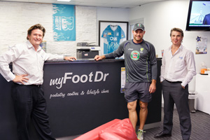 Ryan Harris with Greg Dower and Darren Stewart of my FootDr podiatry centres