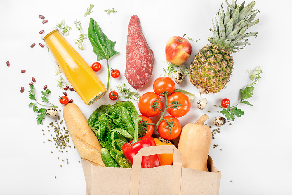 healthy supermarket grocery bag